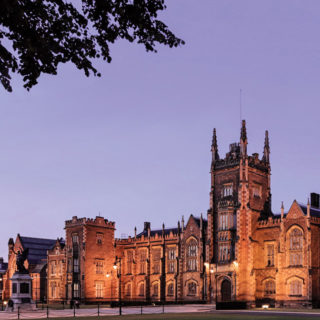 Queen's University Belfast Lanyon bldg by night