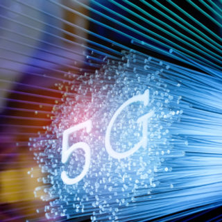 5G signs with Fiber optics background,Communication Concept,